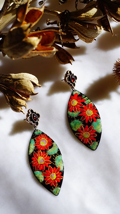 Red Cactus Flower Earrings