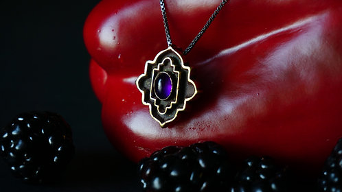 Coffered Basilica Necklace with Amethyst