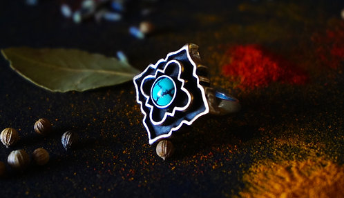 Coffered Casa Sacra Ring with Turquoise