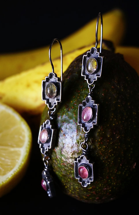 Trinitá Earrings with Tourmaline
