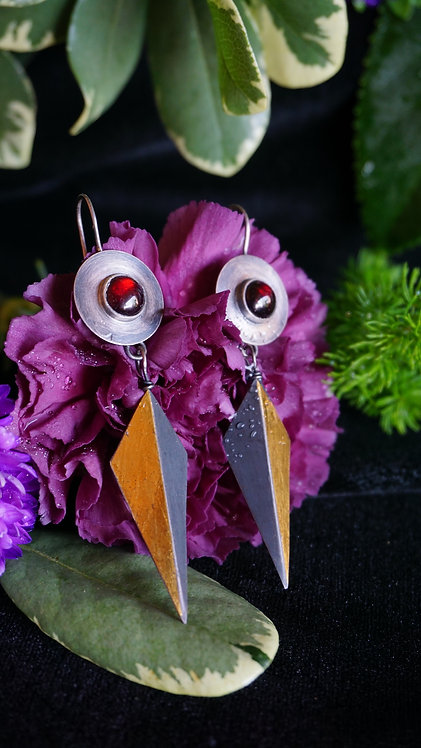 Enchanted Forest Earrings with Garnet