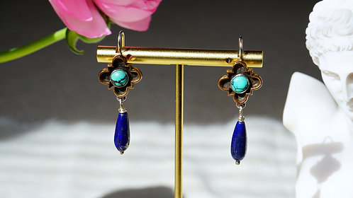 Casa Sacra Dangle Earrings with Turquoise and Lapis