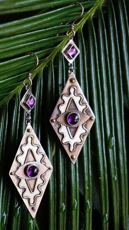 Protective Eye Earrings with Amethyst & 18k gold
