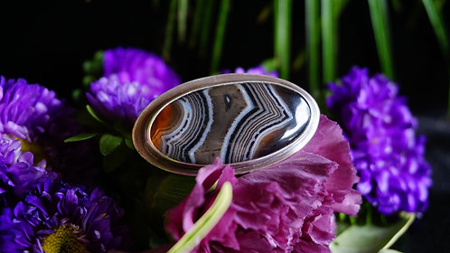 Strata Ring with Banded Agate