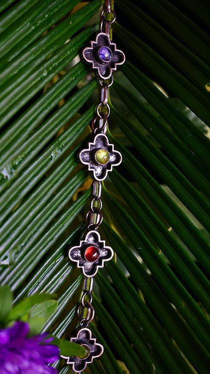 Constellation Collar with Garnet, Peridot, & Iolite