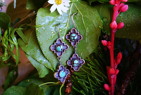 Fortuna Earrings with Turquoise