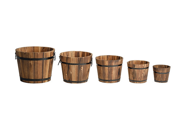 5 Set Wooden Bucket Set