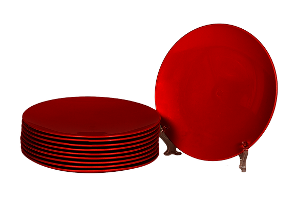 Round Plastic Plate Red