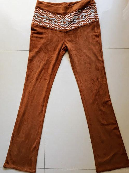 Calça Chamois marrom, flare, bordada