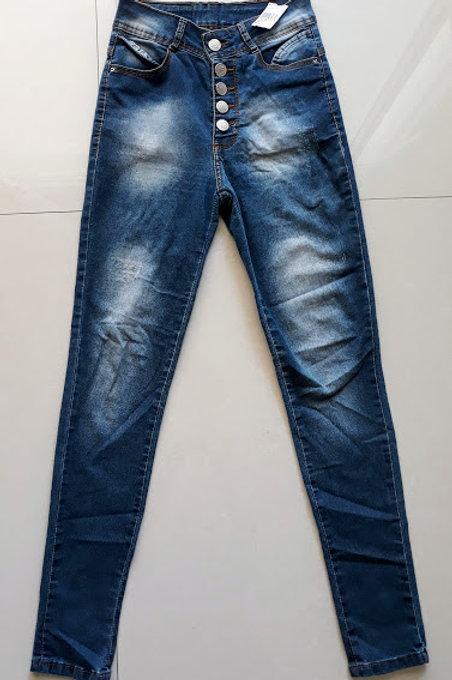 Calça jeans cintura alta com botões