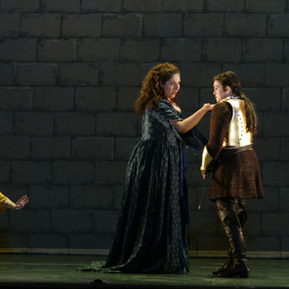As Ruggiero (Alcina) with Keith Jameson as Oronte, Jennifer Dudley as Bradamante and Christine Goerke in the title role of Alcina | New York City Opera | Photo: Carol Rosegg