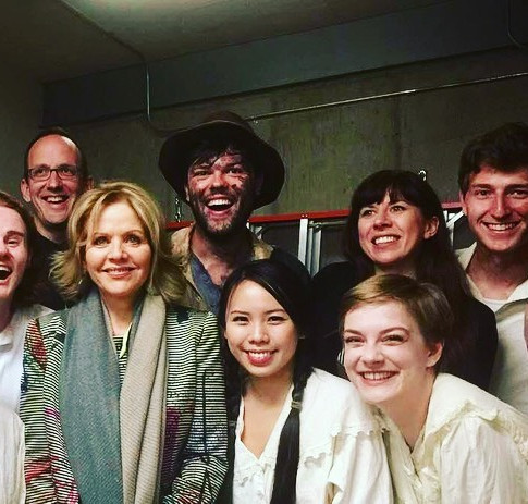 """With the cast of """"Proving Up"""" and audience member Renee Flemming, Aspen Music Festival 2019."""
