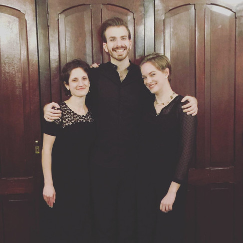 """With Bethany Pietroniro, pianist, and Brad Testerman, baritone, after """"A Question of Love"""" 2019."""