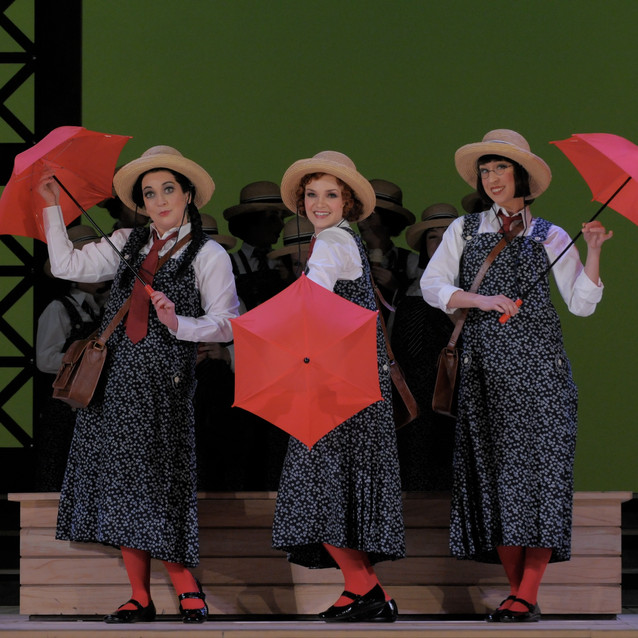 With Andriana Chuchman as Yum-Yum and Emily Fons as Peep-Bo | Lyric Opera of Chicago | Photo: Dan Rest