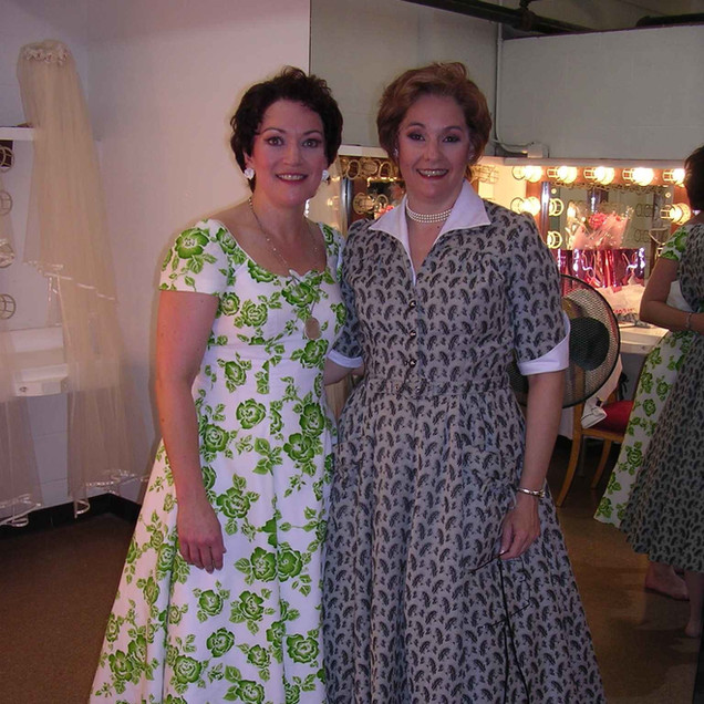 """Singing Dorabella with one of my mezzo idols (and now, I'm proud to say, friend!), Susanne Mentzer as Despina. Backstage at Santa Fe during """"Cosi""""."""