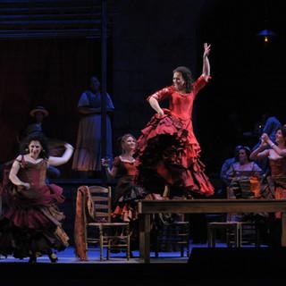 With Jennifer Jakob as Frasquita and Craig Irvin as Zuniga | Lyric Opera of Chicago | Photo by Dan Rest.