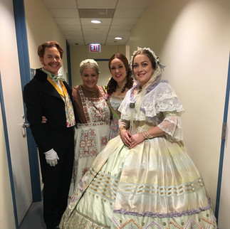 Backstage at Eugene Onegin at Chicago Lyric, with Keith Jameson (Triquet), Jill Grove (Filipyevna), and Alisa Kolosova (Olga)
