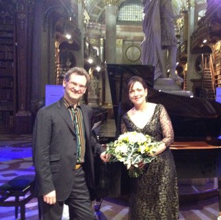 "With pianist Jendrik Springer after our concert of the ""Wesendonck Lieder"" at the Austrian National Library (Vienna) for the opening of their Wagner exhibit."