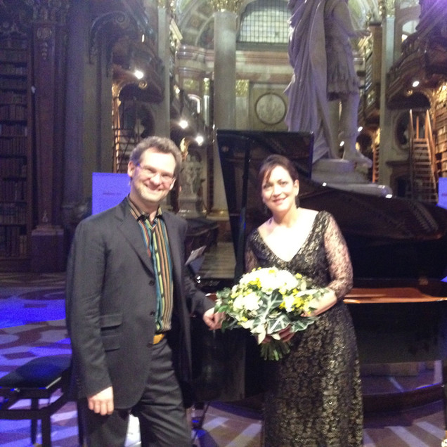 """With pianist Jendrik Springer after our concert of the """"Wesendonck Lieder"""" at the Austrian National Library (Vienna) for the opening of their Wagner exhibit."""