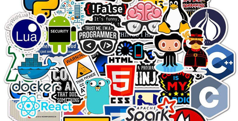 50 PCS Laptop Stickers | Programming Tech Linux WiFI OS Related