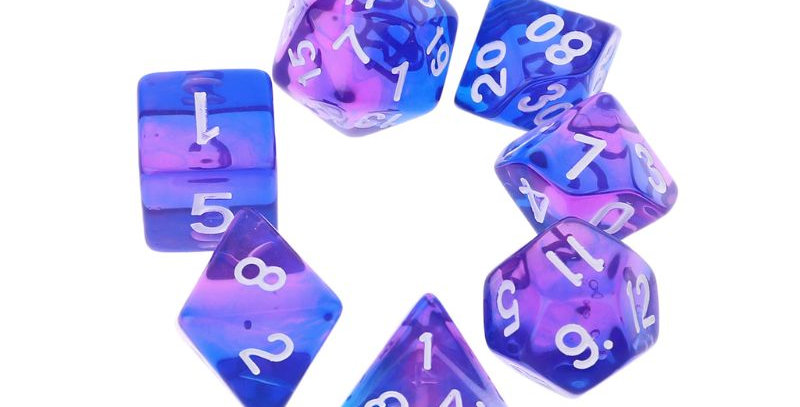 7pcs Transparent Sided Dice | DnD RPG Tabletop Gaming