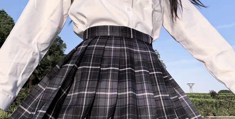Korean High Waist Pleated Skirt