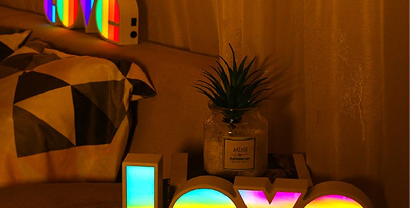 LED Rainbow Color Love Sign | Geek Decor Light