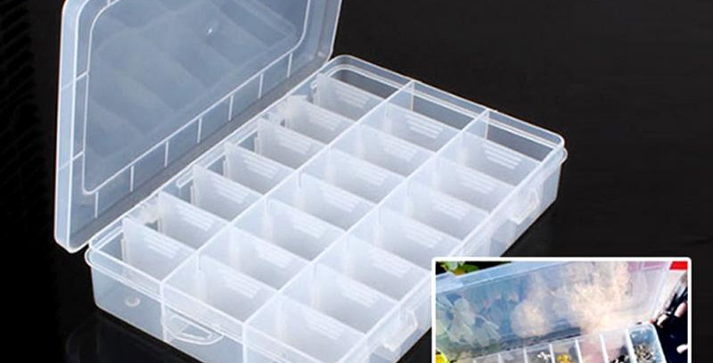 24 Compartment Storage Box | Adjustable Plastic Case for Collectibles