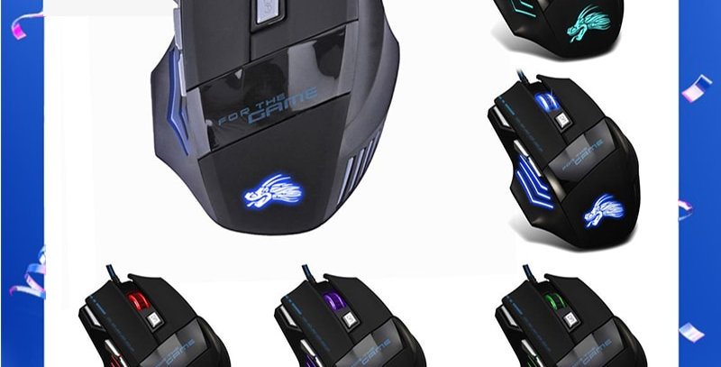 GWL Gamer - 5500DPI LED Optical USB Wired Gaming Mouse with 7 Buttons