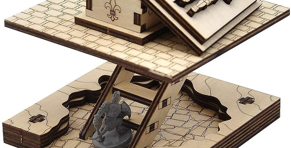 Wooden Sarcophagus Miniature Cavern Tiles With Removable Lid & Ladder | RPG D&D