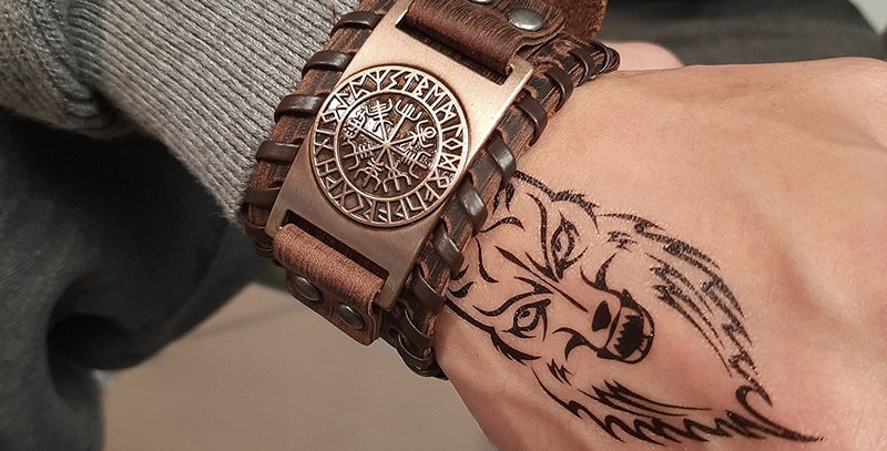 Odin Leather Bracelet | Nordic Runes Compass Symbol | Unique Geek