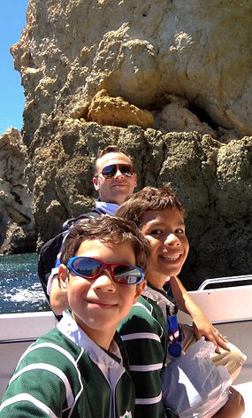 Beach photo with my two boys in Albufeira, Portugal.