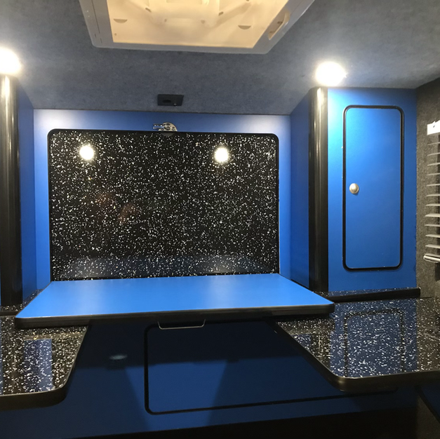 Glampa interior with drop down hatch/ table