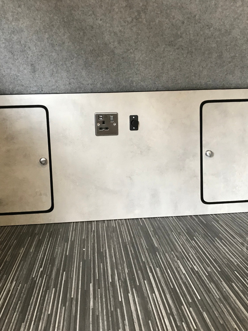 Internal storage units in concrete laminate