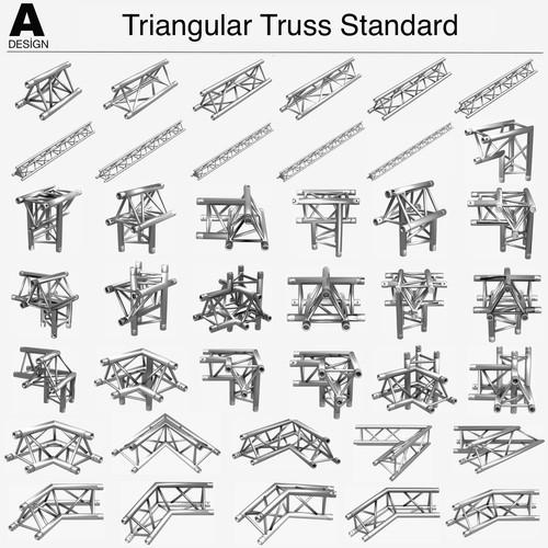 Triangular Truss Standard Collection (41 Modular Pieces)