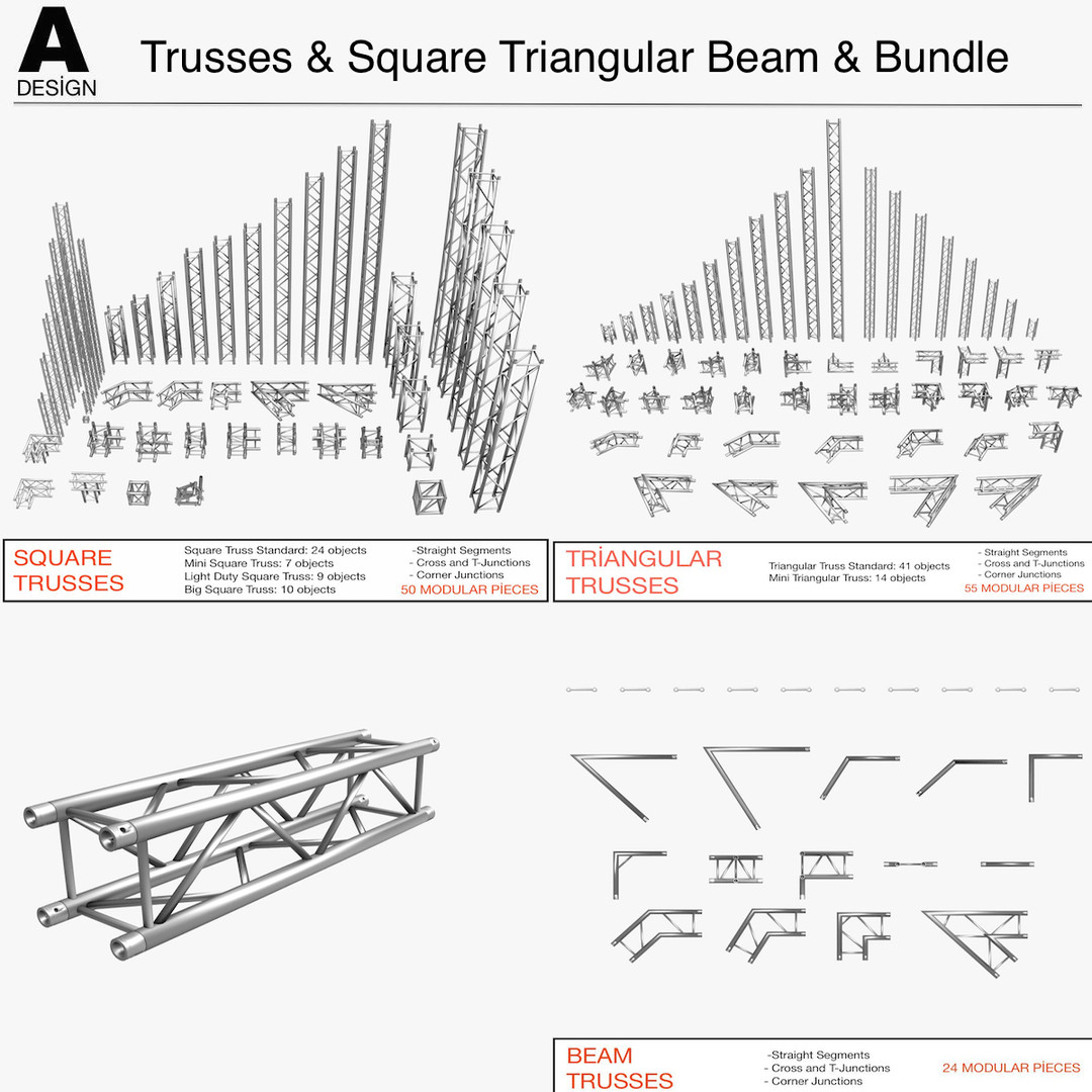 Trusses Square Triangular Beam Bundle (Collection 170 Modular Pieces)