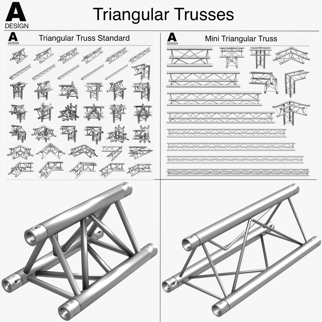 Triangular Trusses Collection (55 Modular Pieces)