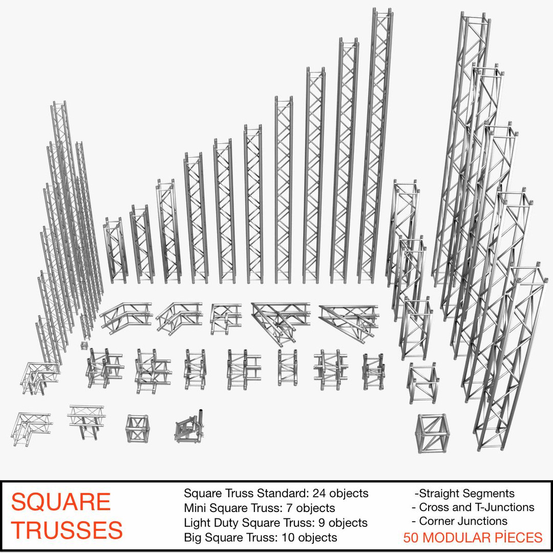 Square Light Trusses (Collection 50 Modular Pieces)