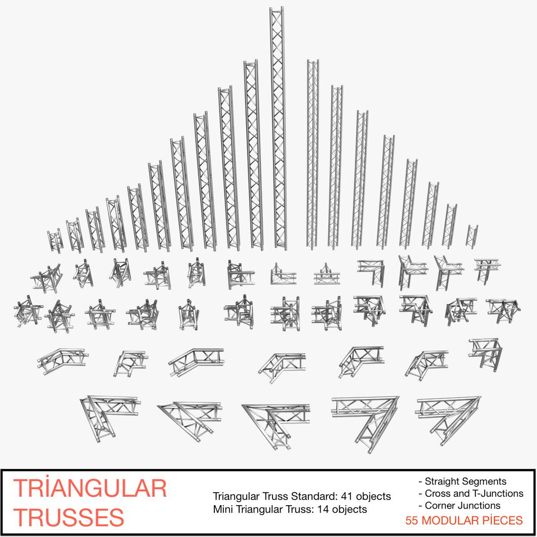 Triangular Trusses (Collection 55 Modular Pieces)