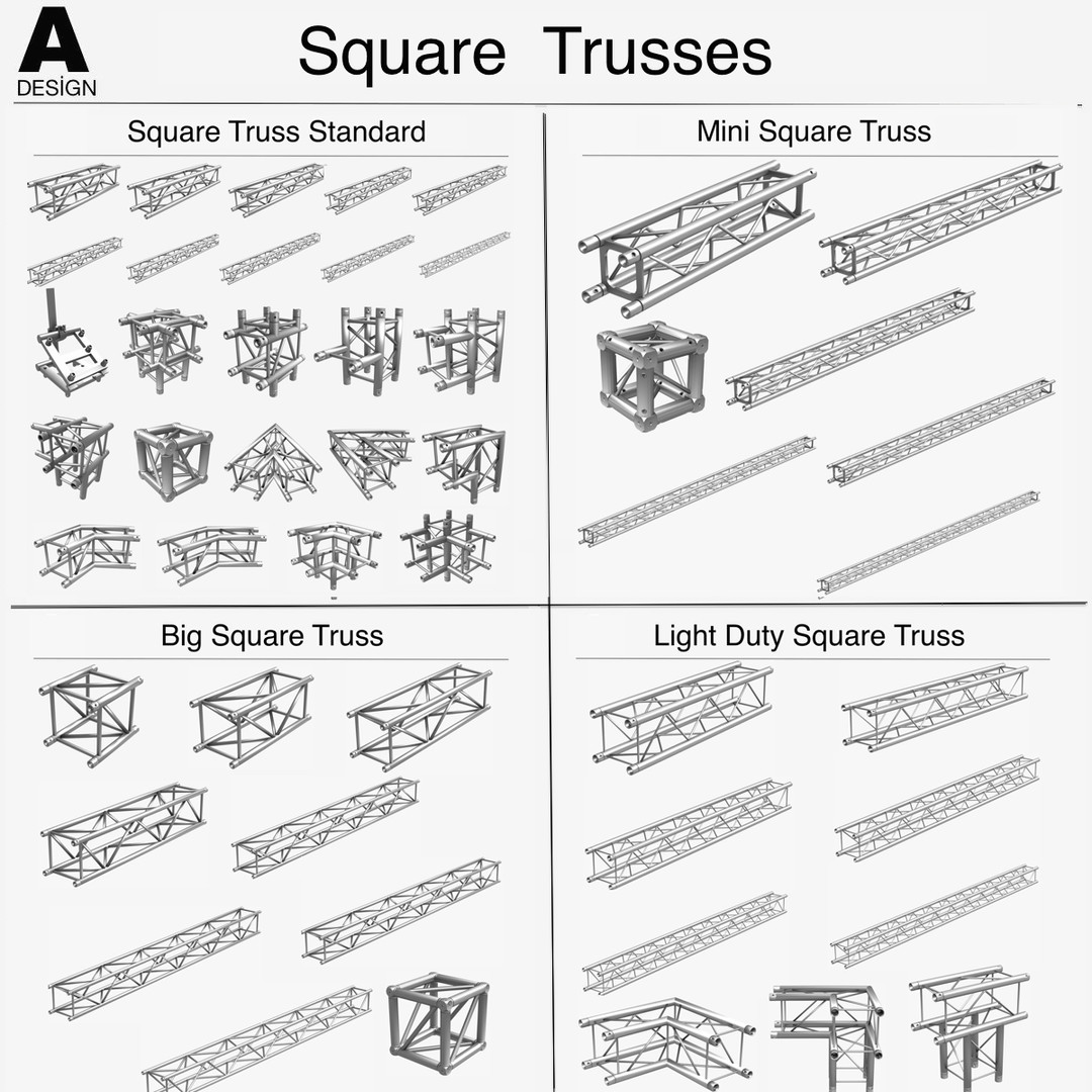 Square Light Trusses Collection (50 Modular Pieces)