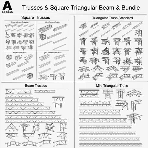 Trusses Square Triangular Beam Bundle Collection (170 Modular Pieces