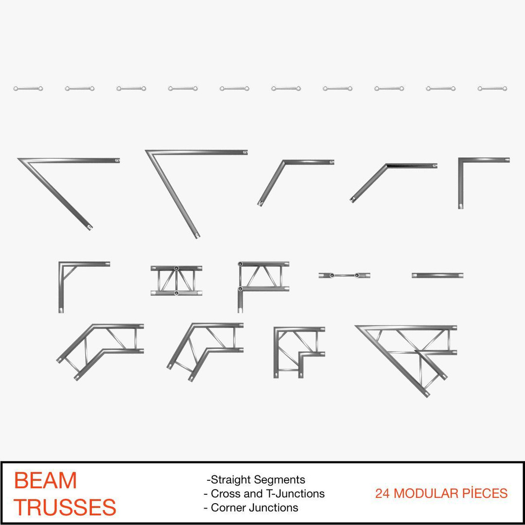 Beam Trusses (Collection 24 Modular Pieces)