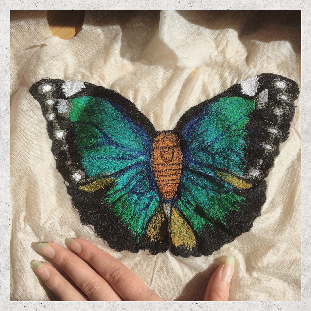 Machine Embroidered Butterfly