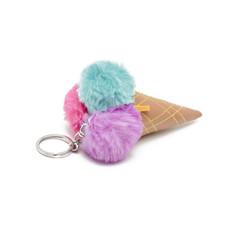 Ice cream pompom key ring