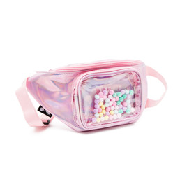 Waist pouch with pompoms pink