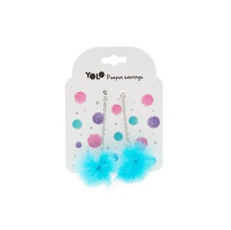 Pompom earings blue