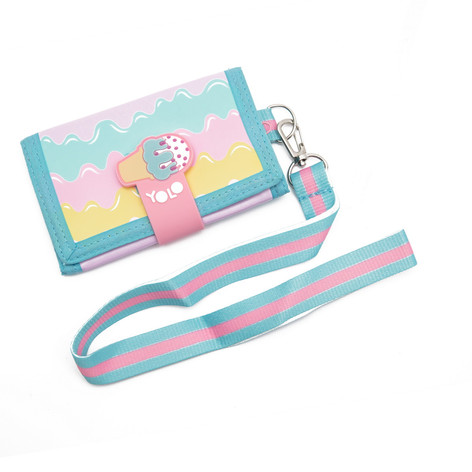 Velcro wallet with string ice cream