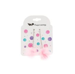 Pompom earings pink