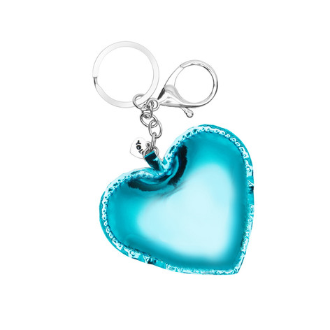 Holographic heart key ring blue