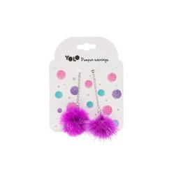 Pompom earings purple
